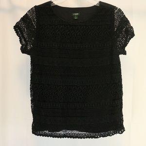 J Crew Women's 2 Top Black Lace Short Sleeve